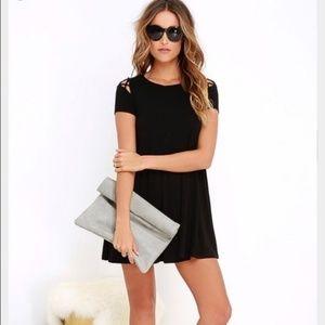 Lulus Black Cold Shoulder Take Affect Swing Dress
